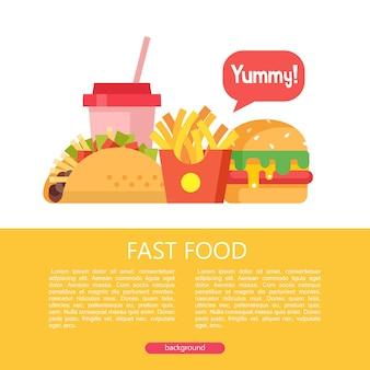Быстрое питание. вкусная еда. векторная иллюстрация в плоском стиле. набор популярных блюд быстрого питания. тако, картофель фри, гамбургер и молочный коктейль. иллюстрация с пространством для текста.