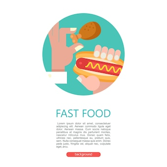 Фаст-фуд вкусная еда векторные иллюстрации в плоский