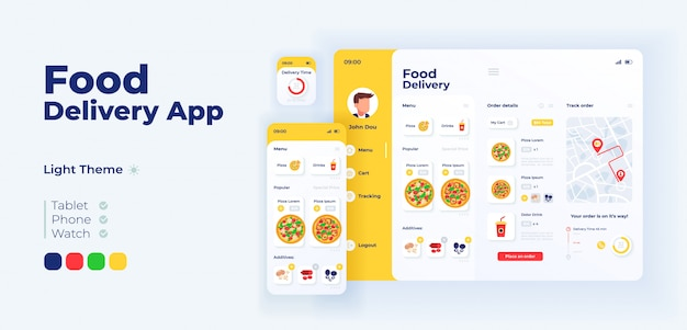 Fast food delivery app screen adaptive design template. italian pizza ordering application light mode interface with flat illustrations. smartphone, tablet, smart watch cartoon ui