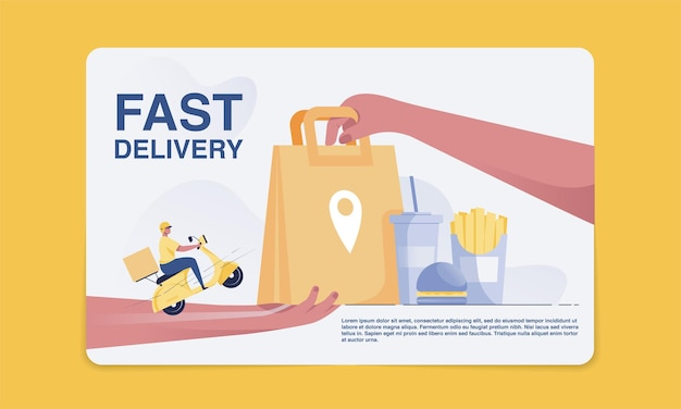 Fast food delivery concept delivery personnel deliver goods to customers. receive a paper bag from hand to hand. vector illustration