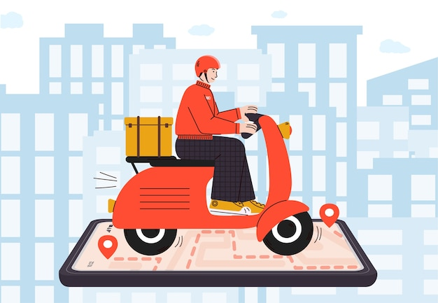 Fast food delivery concept with courier on motorcycle