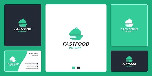 レストランや配達会社のファーストフード配達のロゴデザイン