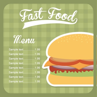 Fast food design over green background vector illustration