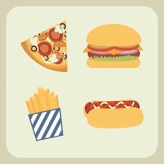Дизайн быстрого питания на бежевом фоне векторные иллюстрации