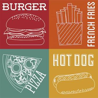 Дизайн быстрого питания на красочный фон векторные иллюстрации
