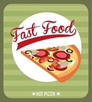 Дизайн быстрого питания на зеленом фоне векторные иллюстрации