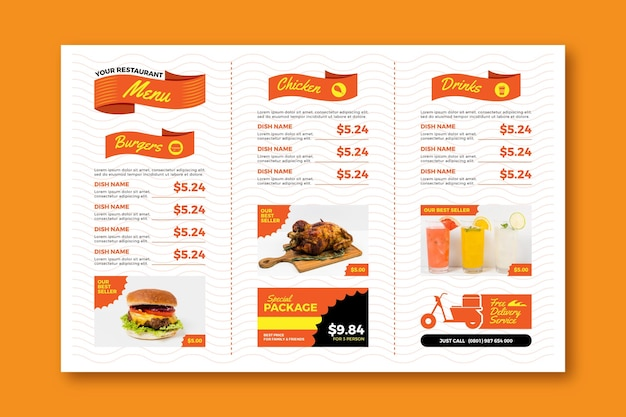 Fast food digital horizontal restaurant menu template