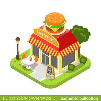 Fast food diner restaurant cafe shop burger shape building realty real estate concept.