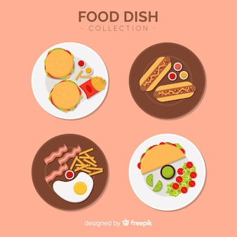 Fast food dishes collection