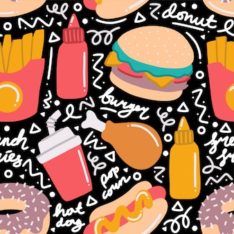 Fast food doodle seamless pattern