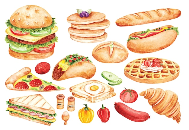 Fast food doodle in watercolor style