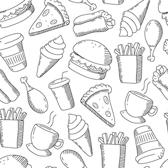 Fast food doodles vector cartoon seamless pattern on a white background.