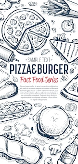Fast food doodles vertical banner menu