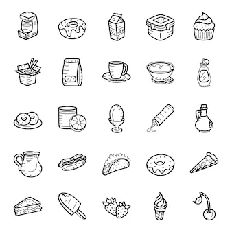 Fast food and drinks hand drawn icons pack