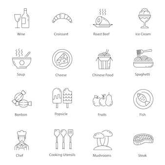 Fast food and drinks line icons pack