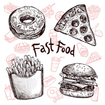 Fast food and drinks sketch set