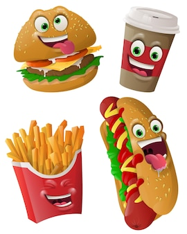 Fast food faces masks with mouth and eyes of aliens emoticon