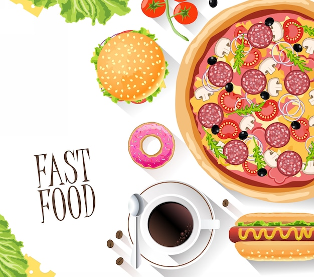 Fast food flat banner for decoration web-sites, leaf and other