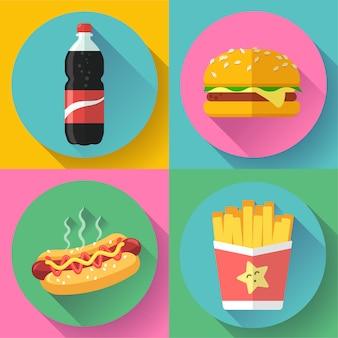패스트 푸드 평면 디자인 아이콘 세트입니다. 햄버거, 콜라, 핫도그, 감자 튀김