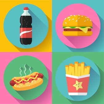 Fast food flat design icon set. hamburger, cola, hot dog and french fries