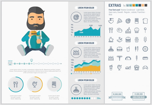 Fast food flat design infographic template and icons set