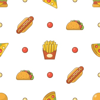 Fast food flat icons seamless pattern on white background
