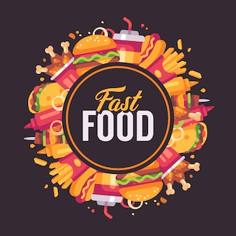 ファーストフードフラットイラスト。美味しい食べ物を丸ごと配置