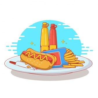 Fast food in flat line art design