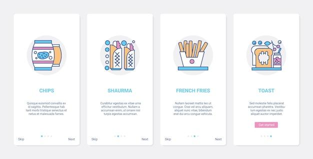 Быстрое питание для бистро, кафе, ресторана, меню ux ui, набор экранов страницы мобильного приложения.