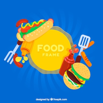 Fast food frame with flat design
