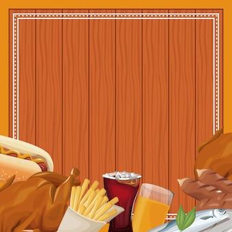 Fast food frame over wooden background