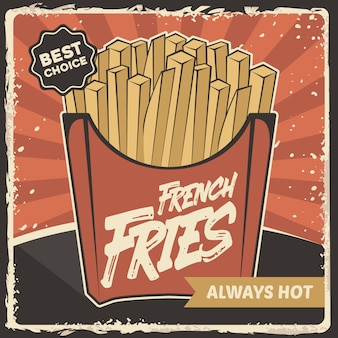 Fast food french fries potato signage poster retro rustic classic