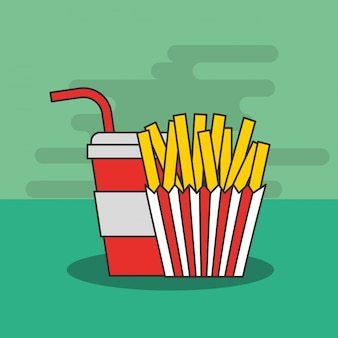 Fast food french fries and soda in cup straw