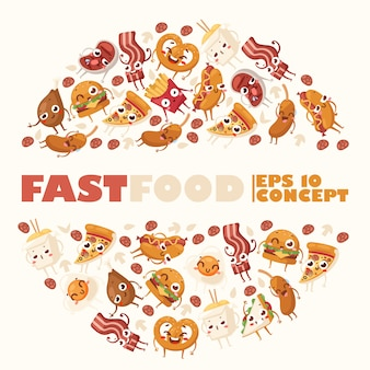 Fast food funny cartoon characters round frame composition with isolated junk food icons