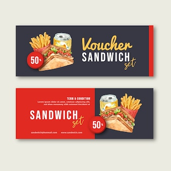 Fast food gift voucher discount order menu appetizer food