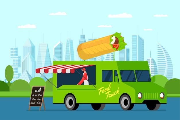 Fast food green truck with cook outdoor in city park. shawarma on van roof. doner kebab delivery van service. fair on street with catering wheels. vector advertising illustration