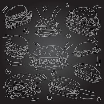 ファーストフードハンバーガー落書きセット-ベクトルイラスト-黒板とチョーク