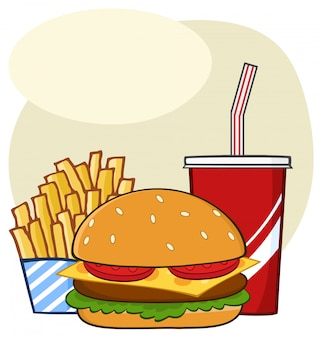 Fast food hamburger drink and french fries cartoon drawing simple design