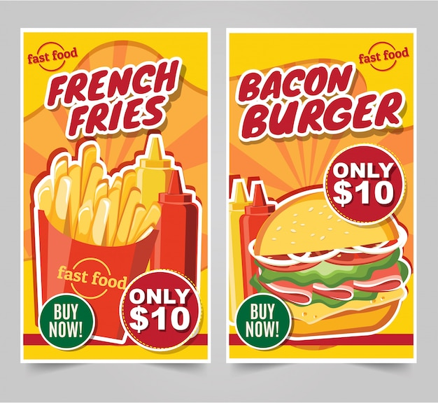 Fast food hamburger, fast food meals banners tasty set fast food vector