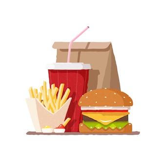 Быстрое питание. гамбургер. картофель фри и соды в стакане.