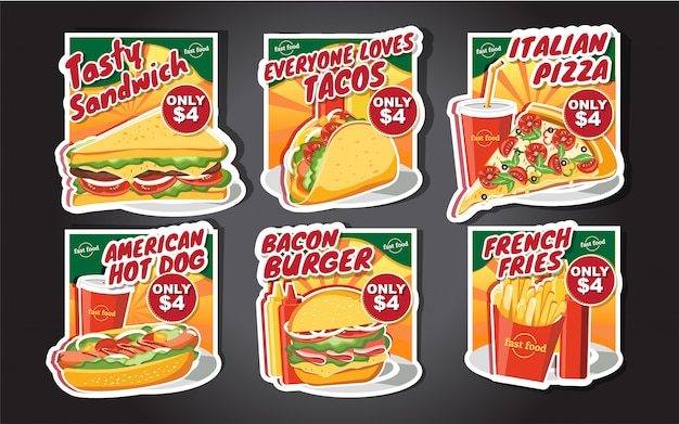 Fast food hamburger labels