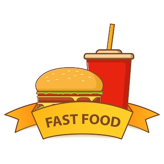 Fast food hamburger and a plastic cup of soda.