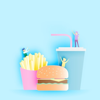 Fast food hamburger and soft drink with french fries in paper art style