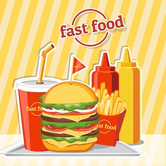 Fast food hamburger, tasty set fast food