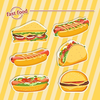 Fast food hamburger, tasty set fast food