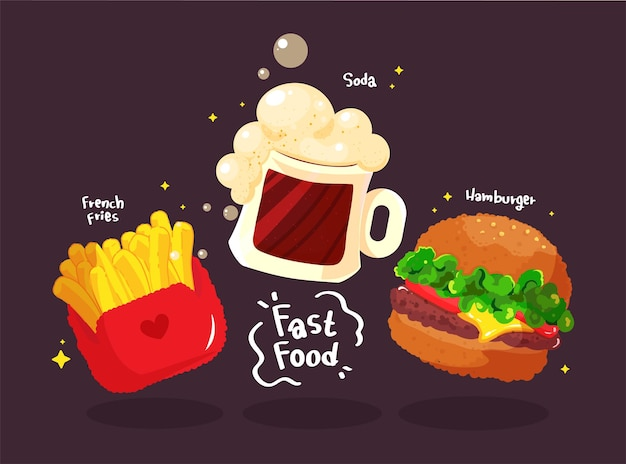 Fast food hamburger tasty set hand drawn cartoon art illustration