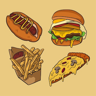 Fast food hand drawn collection