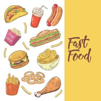 ファーストフードの手描きの落書きとハンバーガー