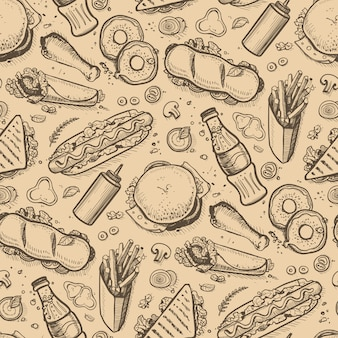 Fast food hand drawn vintage background