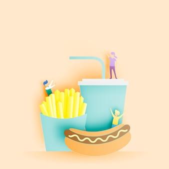 패스트 푸드 핫도그와 종이 아트 스타일의 감자 튀김과 청량 음료